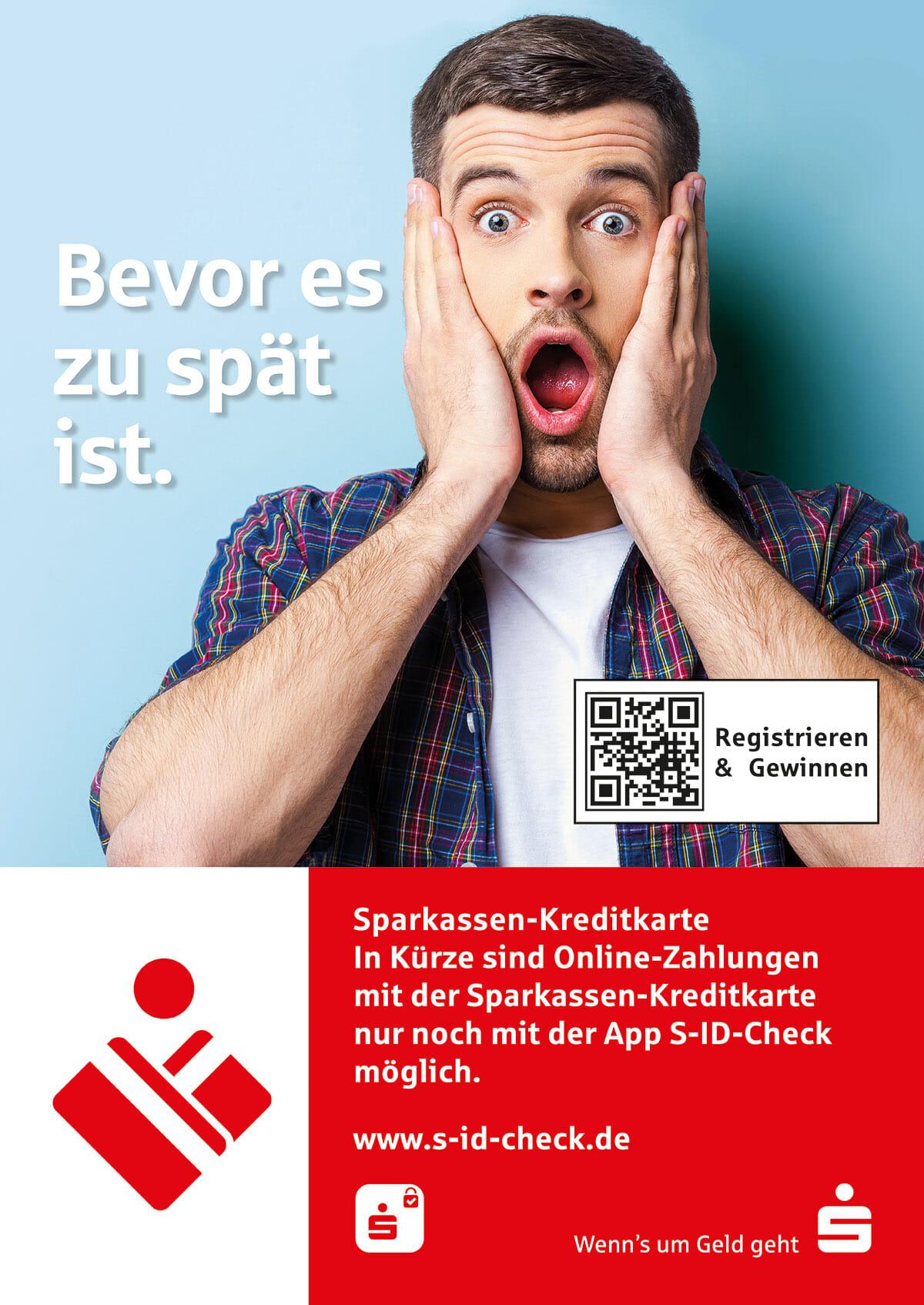 Plakat für Sparkassen-Filialen S-ID-Check Bevor es zu spät ist